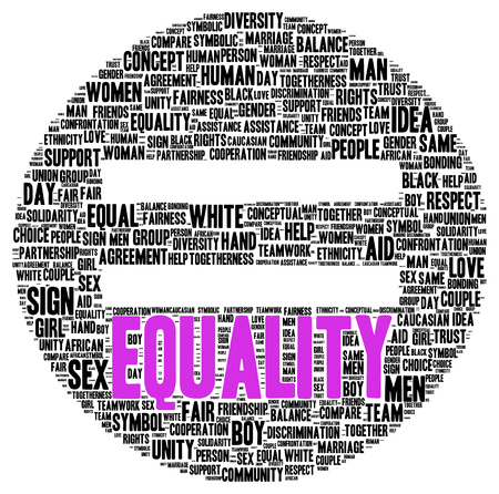 sex discrimination: Equality word cloud shape concept