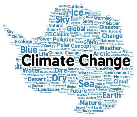 polar environment: Climate change word cloud shape concept