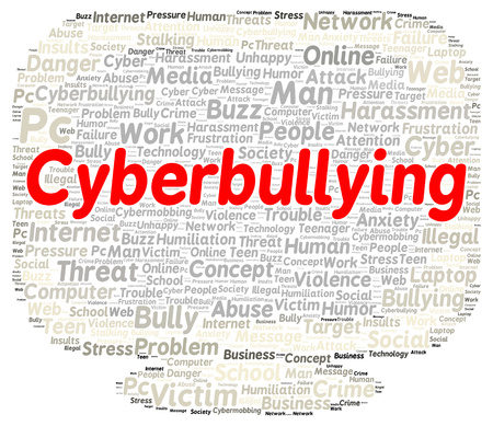 Cyberbullying word cloud shape concept photo