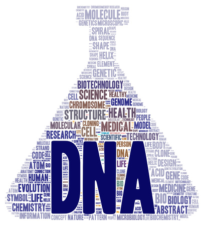 DNA word cloud shape concept photo