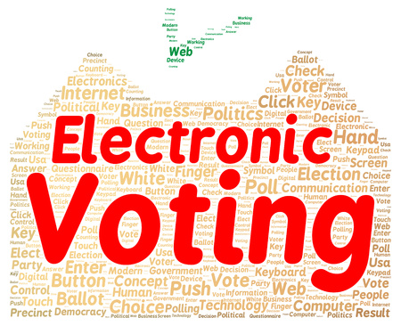electronic voting: Electronic voting word cloud shape concept
