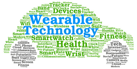 Wearable technology word cloud in the shape of a car with keywords associated with the concept photo