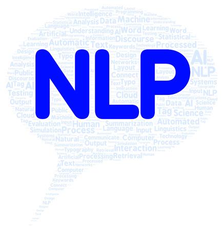 NLP word cloud shape concept photo