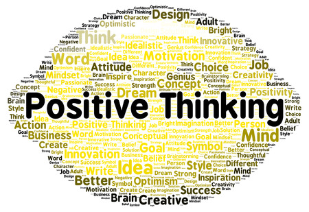 Positive thinking word cloud shape concept photo