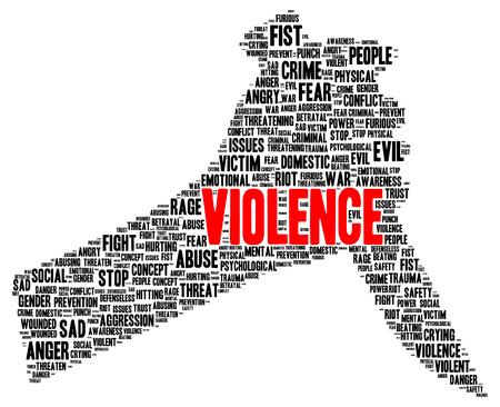 Violence word cloud shape concept photo