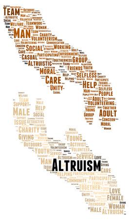 altruism: Palabra altruismo forma de la nube concepto