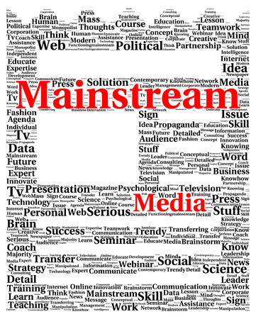 mainstream: Mainstream media word cloud shape concept Zdjęcie Seryjne