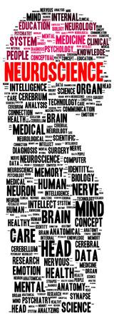 neuroscience: Neuroscience word cloud shape concept