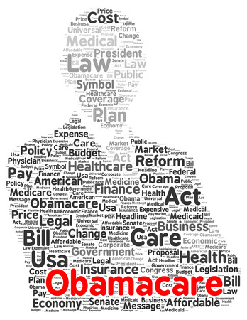 Obamacare word cloud shape concept photo