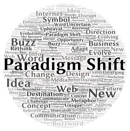 disrupting: Paradigm shift word cloud shape concept