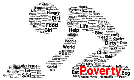Poverty word cloud shape concept photo