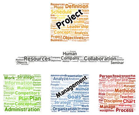 Project management word cloud shape concept photo