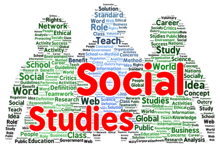 socially: Social studies word cloud shape concept