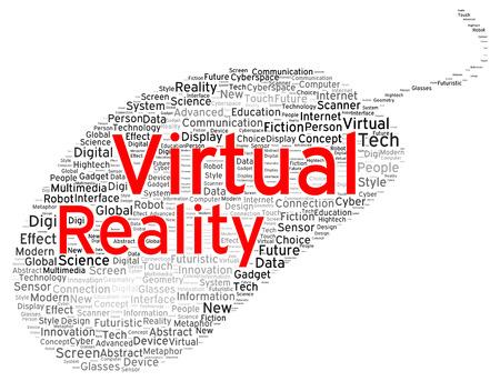 Virtual reality word cloud shape concept photo