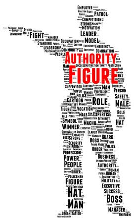 authority: Authority figure word cloud shape concept