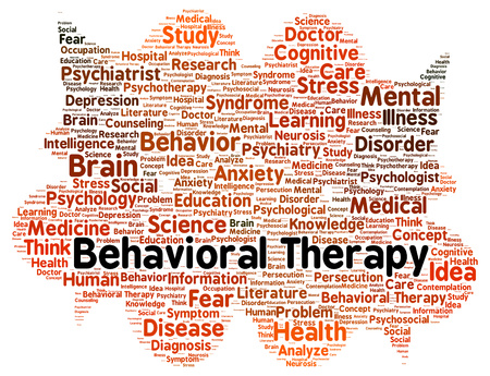 Behavioral therapy word cloud shape concept