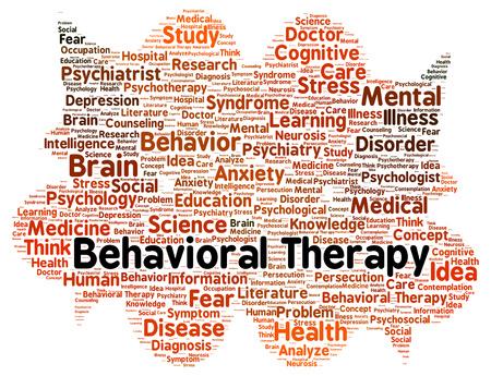 enfermedades mentales: Palabra terapia conductual forma de la nube concepto
