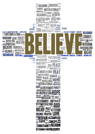 Believe word cloud shape concept