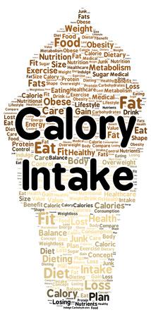 calory: Calory intake word cloud shape concept Stock Photo