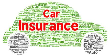 auto insurance: Car insurance word cloud shape concept