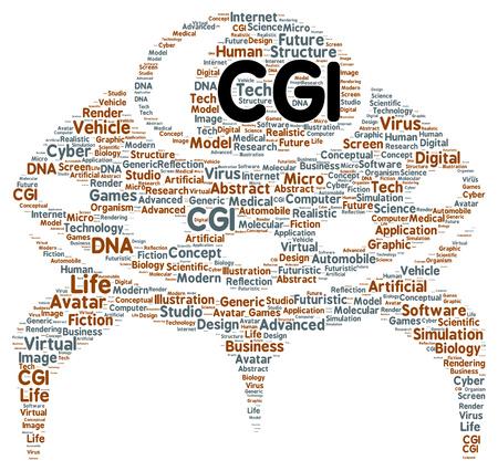 cgi: CGI word cloud shape concept