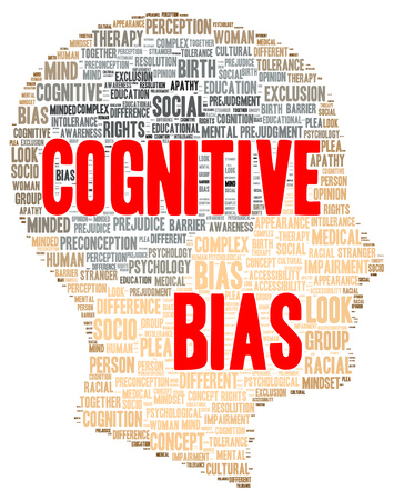 cognitive: Cognitive bias word cloud shape concept