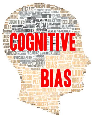 cognicion: Palabra sesgo cognitivo forma de la nube concepto Foto de archivo