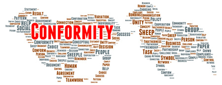 conformity: Conformity word cloud shape concept