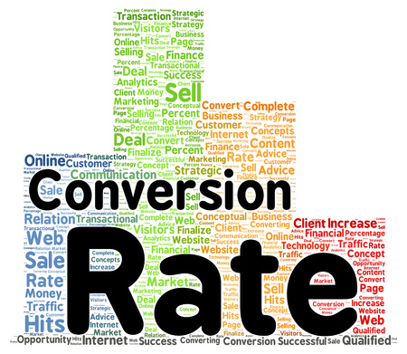 converting: Conversion rate word cloud shape concept Stock Photo