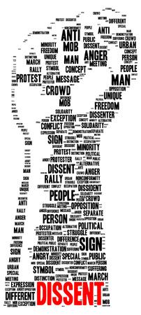 Dissent word cloud shape concept Фото со стока