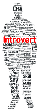 Introvert word cloud shape concept photo