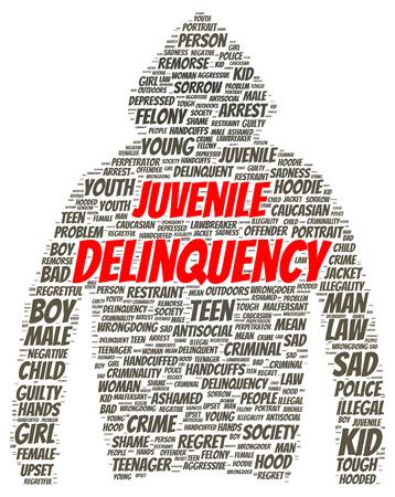 Juvenile delinquency word cloud shape concept