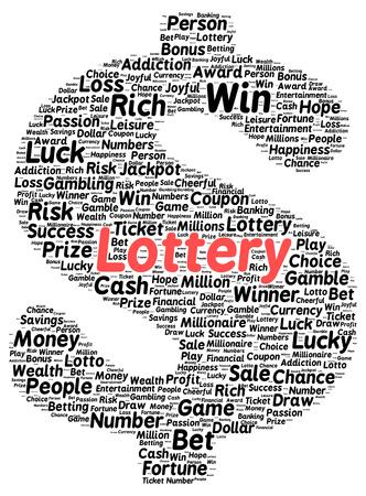 Lottery word cloud shape concept photo