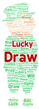 Lucky draw word cloud shape concept photo