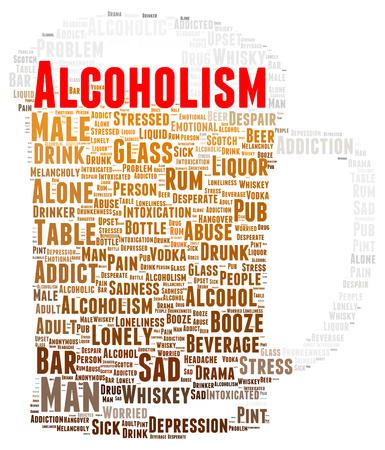Alcoholism word cloud shape concept photo