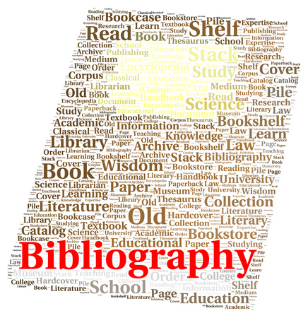 bibliography: Bibliography word cloud shape concept Stock Photo