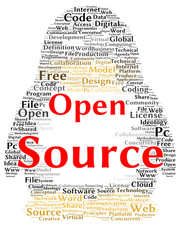 concurrent: Open source word cloud shape concept Stock Photo
