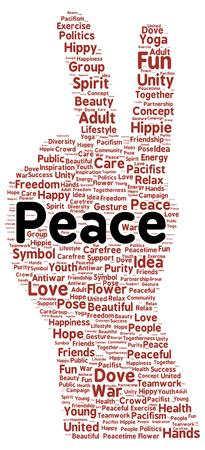 pacifism: Peace word cloud shape concept Stock Photo