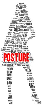 Posture word cloud shape concept photo