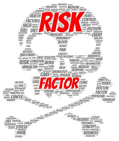 Risk factor word cloud shape concept Stok Fotoğraf