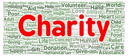 Charity word cloud shape concept photo
