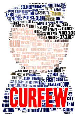 curfew: Curfew word cloud shape concept Stock Photo