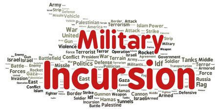 incursion: Mot incursion militaire concept de forme de nuage Banque d'images