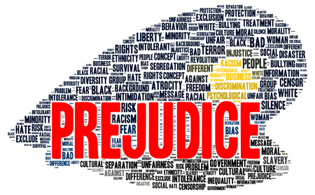 prejudice: Prejudice word cloud shape concept