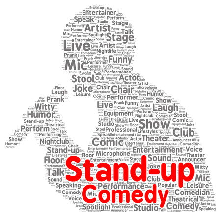 Stand-up comedy word cloud shape concept photo