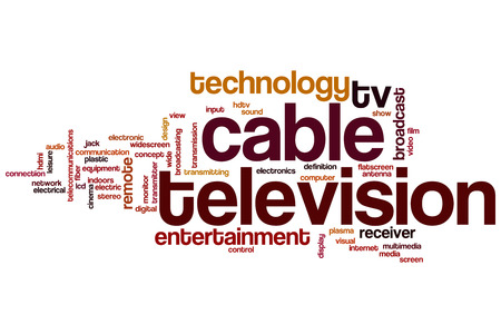 Cable television word cloud concept photo