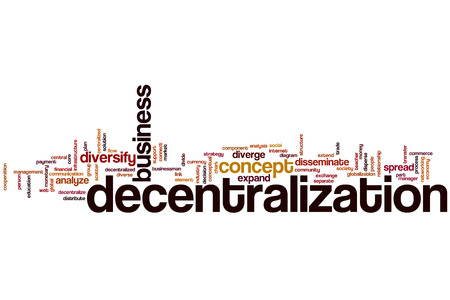 diversify: Decentralization word cloud concept