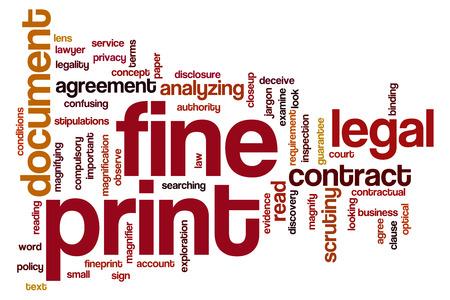 Fine print word cloud concept photo
