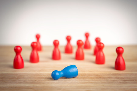 defeat: Business defeat or crime scene concept with game pieces Stock Photo