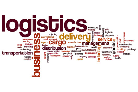 Logistics word cloud concept Archivio Fotografico